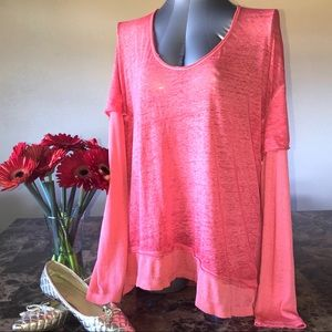 We The Free Coral Scoop-neck Layered Hem & Sleeve
